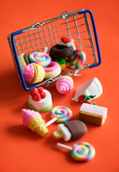 Sweets in a shopping basket
