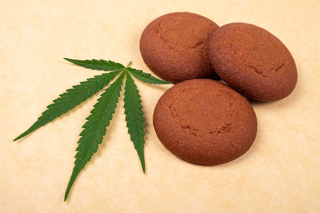 Sweets with marijuana, chocolate chip cookie with green leaf of cannabis plant close-up.
