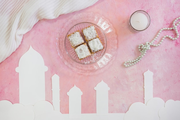 Sweets with milk and beads