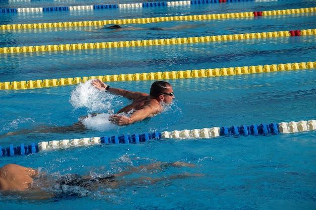 Пловец в большом открытом бассейне