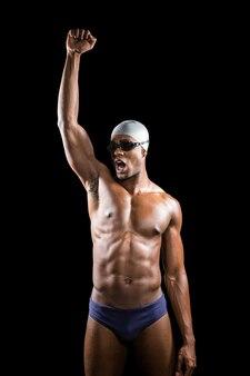 勝利後の水泳ポーズ