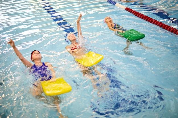 Swimming class in pool