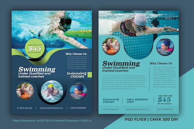 Swimming competition brochure flyer poster psd template