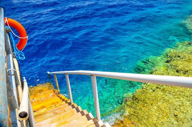 暖かい海でポンツーンと水泳はしご