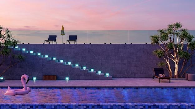 夕暮れ時にモダンで豪華なヴィラの外観のスイミングプールとラウンジチェア