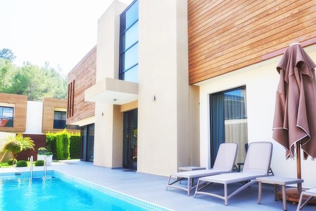 Swimming pool and beach of luxury hotel. type entertainment complex. amara dolce vita luxury hotel. resort. tekirova-kemer. turkey