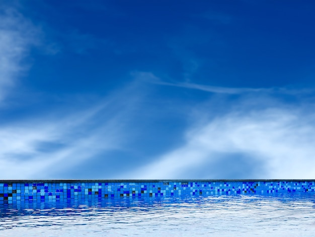 Swimming pool and clear blue sky cloud
