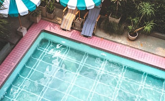 Swimming pool in summer time
