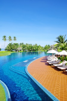 Swimming pool in a luxury hotel, summer holidays