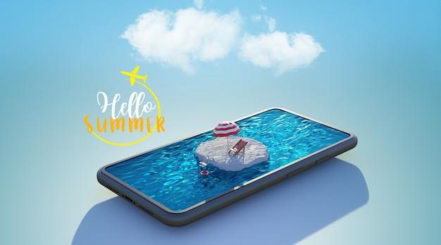 스마트 폰에 수영장. 여행 및 휴가 개념, 3d 렌더링