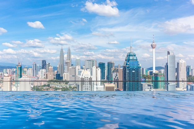 Swimming pool on roof top with beautiful city view kuala lumpur, malaysia