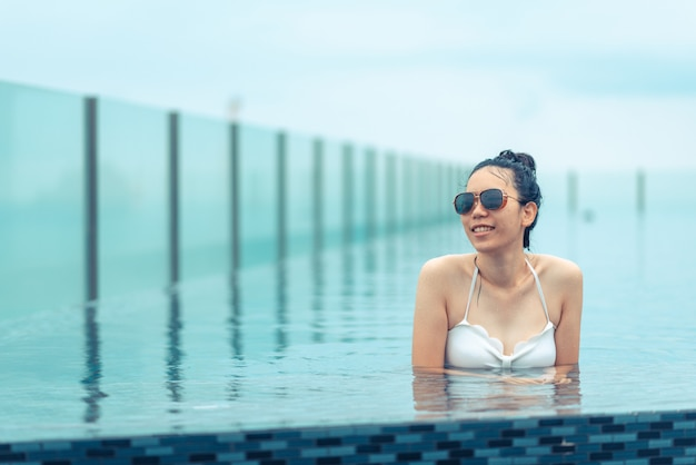 Swimming pool on roof top with beautiful city view, pattaya, thailand