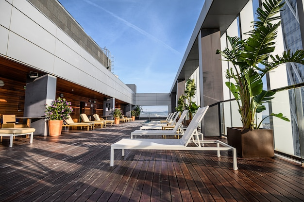 Swimming pool on roof top with beautiful city view. premium hotel. 03.01.2020 barcelona, spain