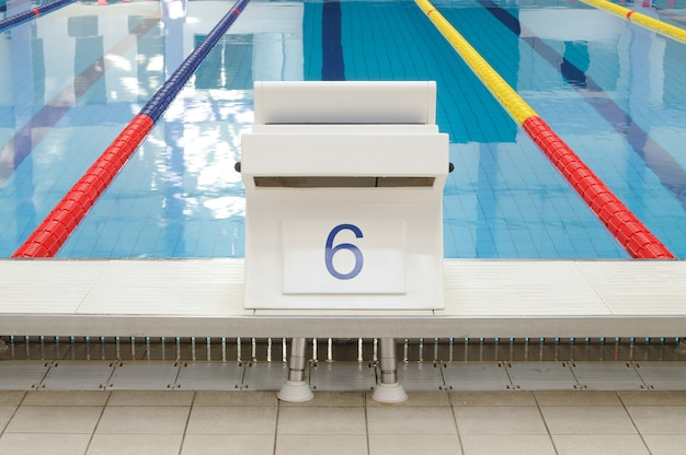Swimming pool starting place with clearly marked lanes