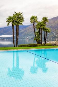 スイスのアスコナにあるヤシの木と高山湖に囲まれたスイミングプール