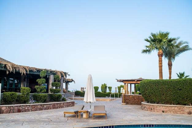 Swimming pool on tropical resort