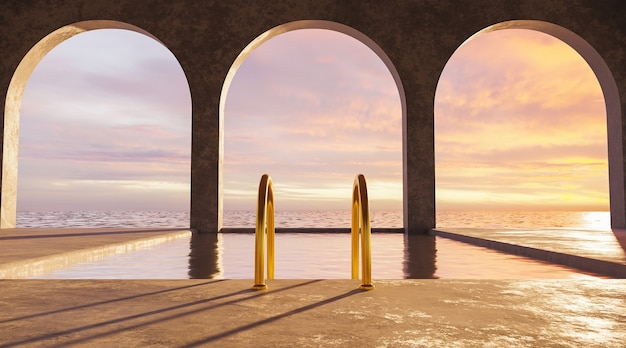 Бассейн с видом на море и золотой лестницей с бетонными арками и красочным закатом.