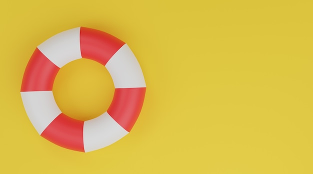 Swimming ring 3d, life buoy red and white on yellow background