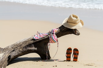 Swimming suit , hat, and flip flops on a tropical beach