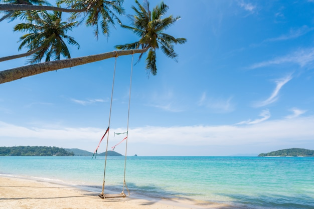 Swing hang from coconut palm tree over summer beach sea in phuket ,thailand. summer, travel, vacation and holiday concept
