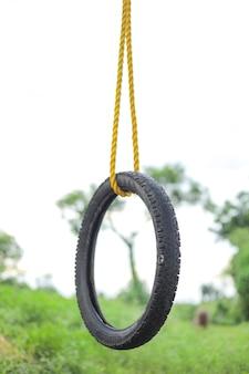 Качели из шины и веревки на дереве в зеленом поле