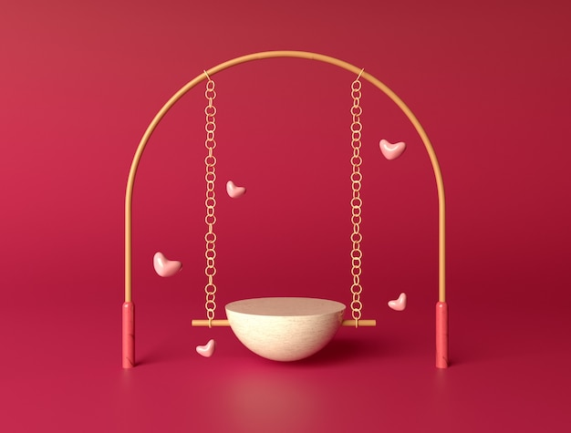 Swing stage for product placement on valentines day