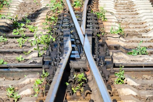 スイッチセットでのswingnose鉄道交差点のクローズアップ