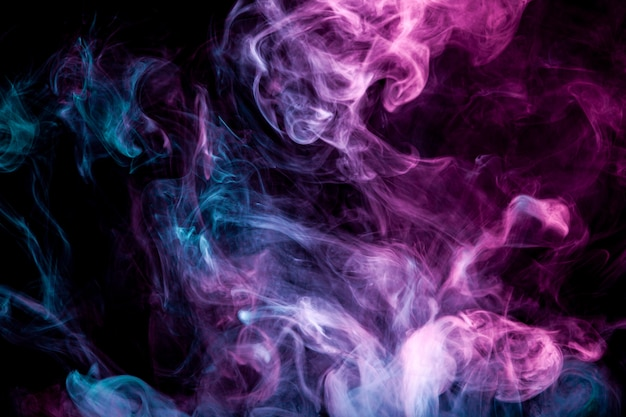 Swirling blue and purple smoke of vape