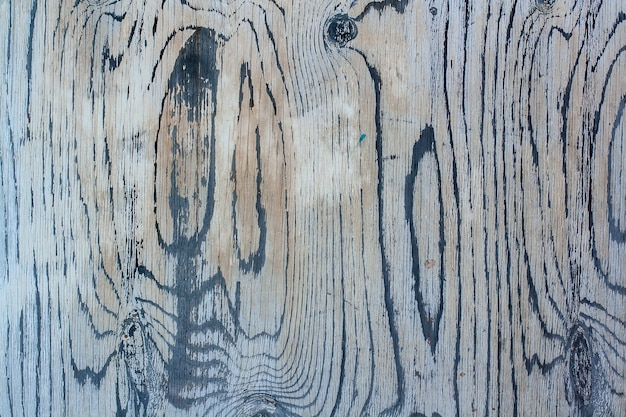 Закрученный рисунок текстуры натурального дерева старой краской. сверху краска белая. в трещинах виден старый слой черной краски.