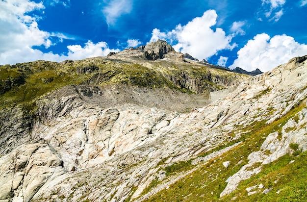 Furka pass 서쪽의 스위스 알프스-스위스 발레 주