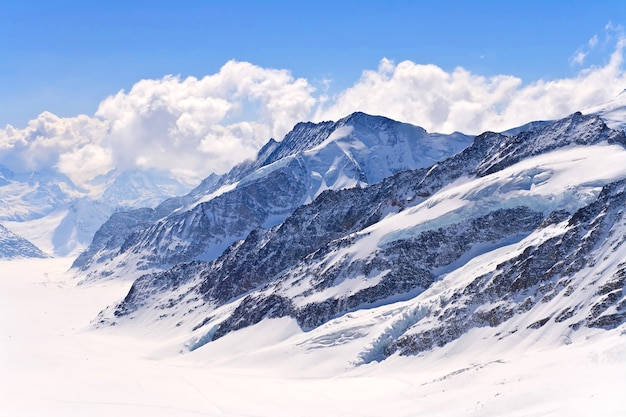 The swiss alps at great aletscg glacier jungfrau region, swizerland