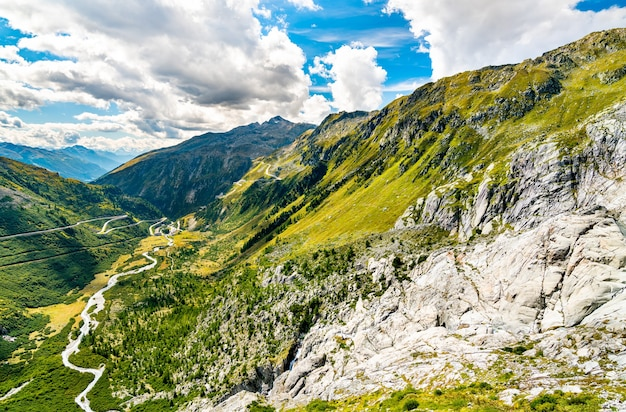 Swiss alps at the western side of furka pass - the canton of valais, switzerland
