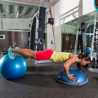 Swiss ball bosu push up woman blue fitball