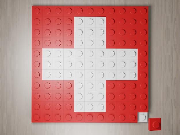 Швейцарский флаг из блоков lego белый крест на красном, сформированный из 3d-рендеринга строительных блоков