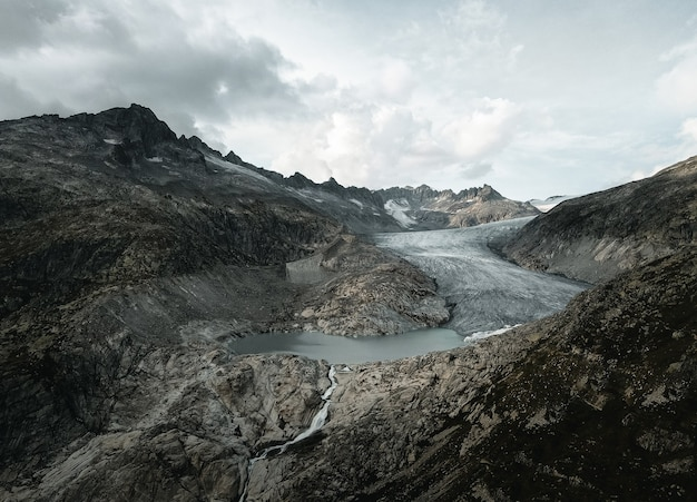 Swiss glacier in swiss alps drone shot