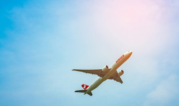 Swiss international airline airbus a-320 after take off