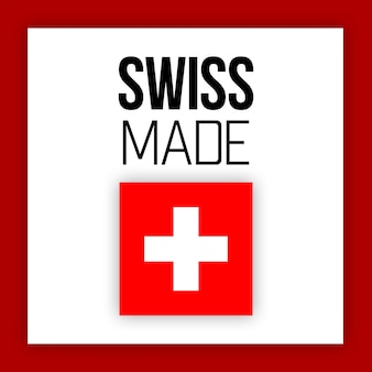 Swiss made label or logo, illustration with national flag
