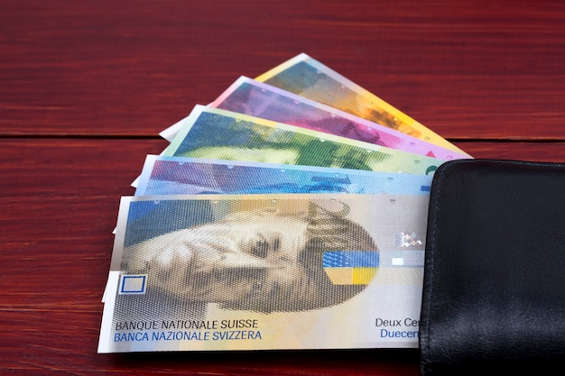 Swiss money in the black wallet