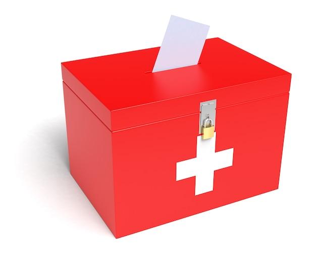 스위스 국기가 있는 스위스 투표함. 흰색 배경에 고립.