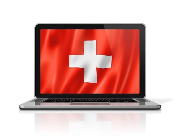 白で隔離のノートパソコンの画面上のスイスの旗。 3dイラストのレンダリング。