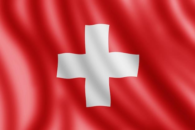 スイスの旗、現実的なイラスト