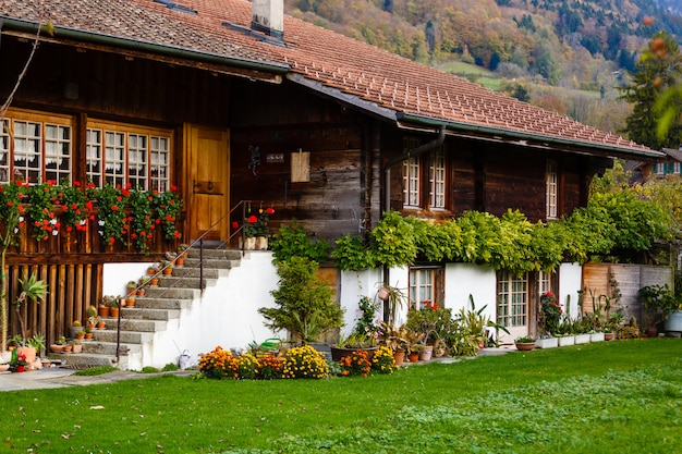 Switzerland. grindelwald village. mountain house