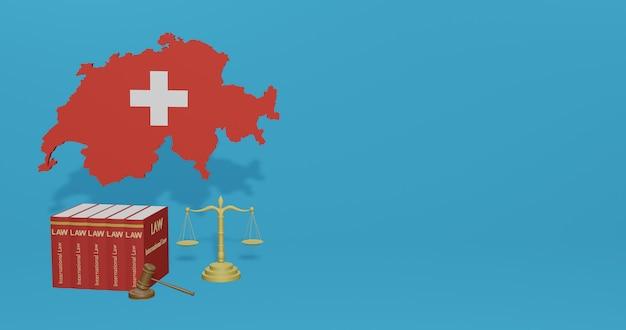 インフォグラフィック、3dレンダリングのソーシャルメディアコンテンツに関するスイスの法律