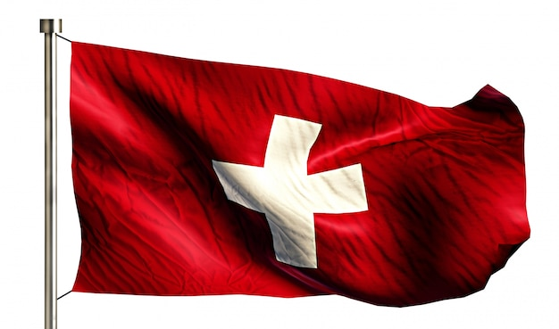 Switzerland national flag isolated 3d white background