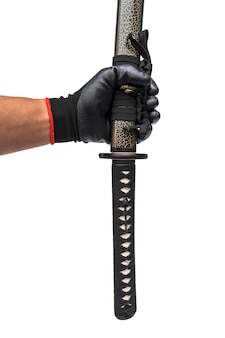 Sword, knife on hand with black glove