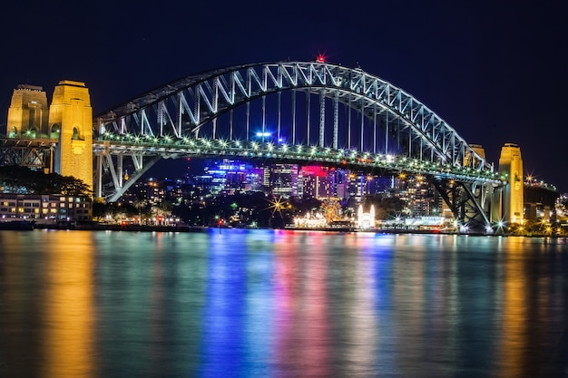 Sydney habour bridge in sydney australia at night with a cityscape in the background.