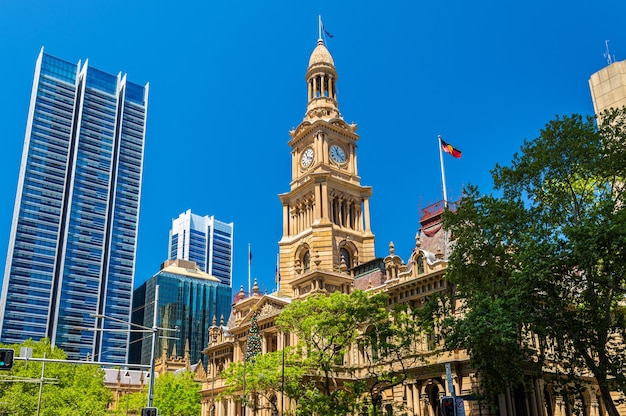 The sydney town hall in australia, new south wales.