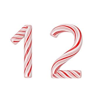 シンボル1と2ミントキャンディケインアルファベット文字番号コレクション白い背景に赤いクリスマス色の縞模様。 3dレンダリング