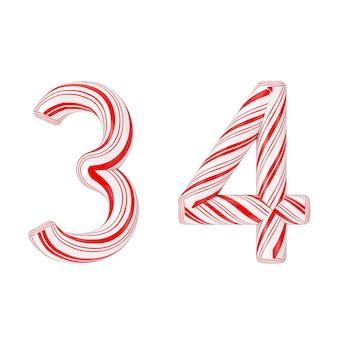 シンボル3と4ミントキャンディケインアルファベット文字番号コレクション白い背景に赤いクリスマス色の縞模様。 3dレンダリング