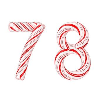 シンボル7と8ミントキャンディケインアルファベット文字番号コレクション白地に赤いクリスマス色の縞模様。 3dレンダリング
